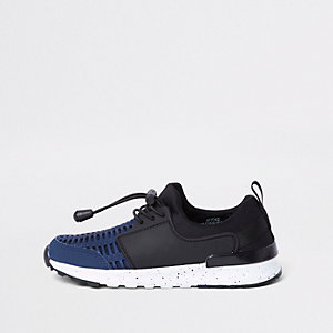 Boys navy mesh runner trainers