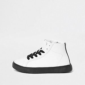 Witte hoge sneakers met textuur voor jongens