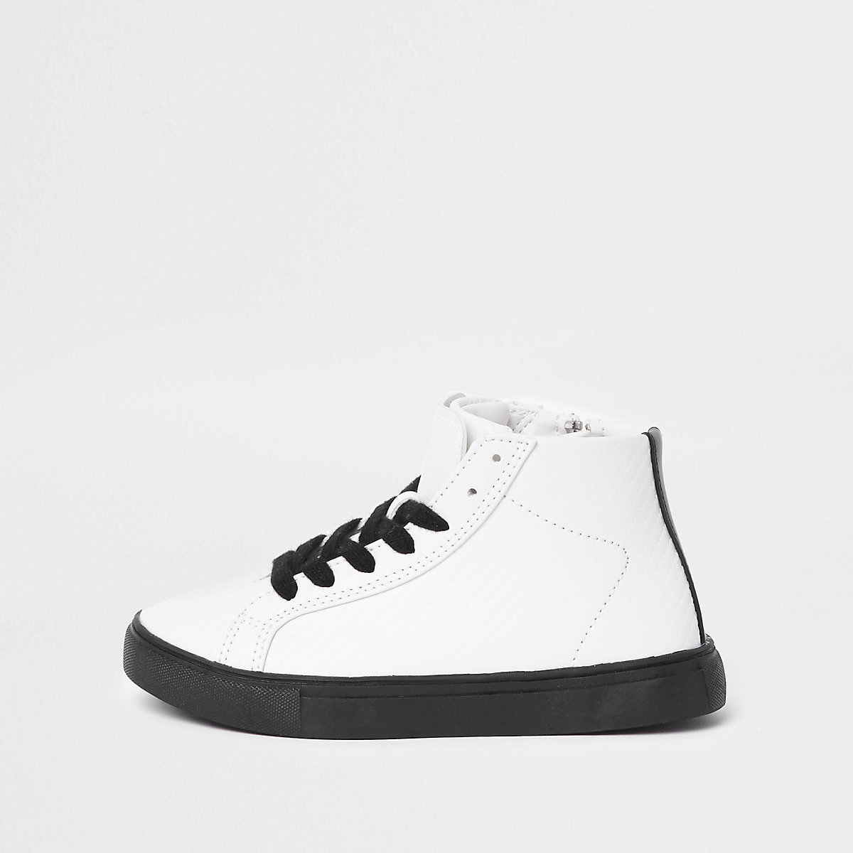 Boys white textured high top trainers