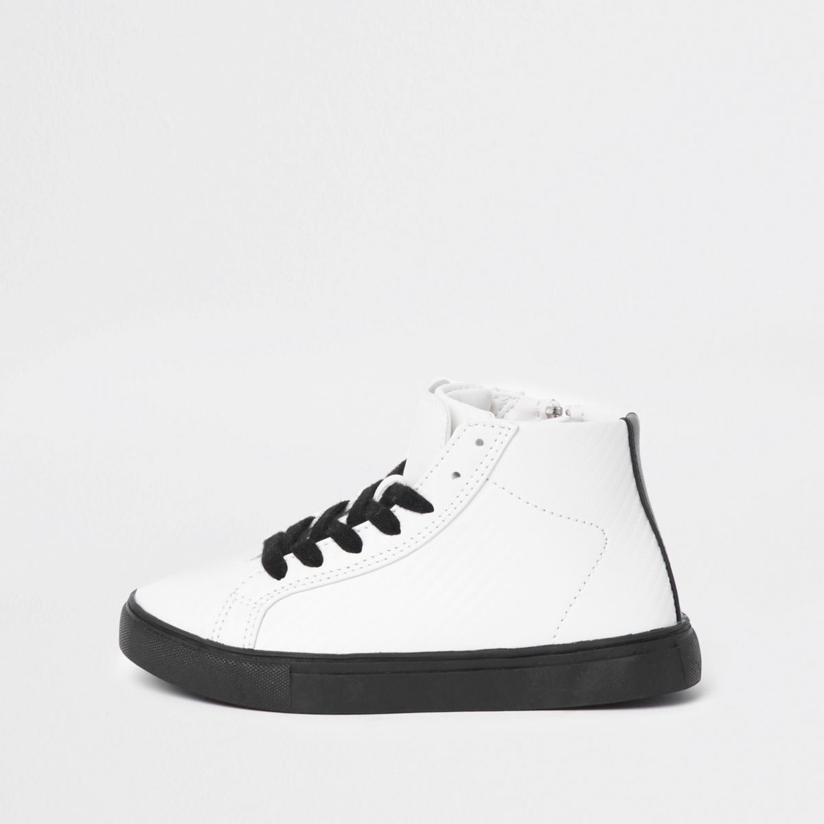 Boys white textured high top sneakers