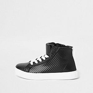 Zwarte hoge sneakers met textuur voor jongens
