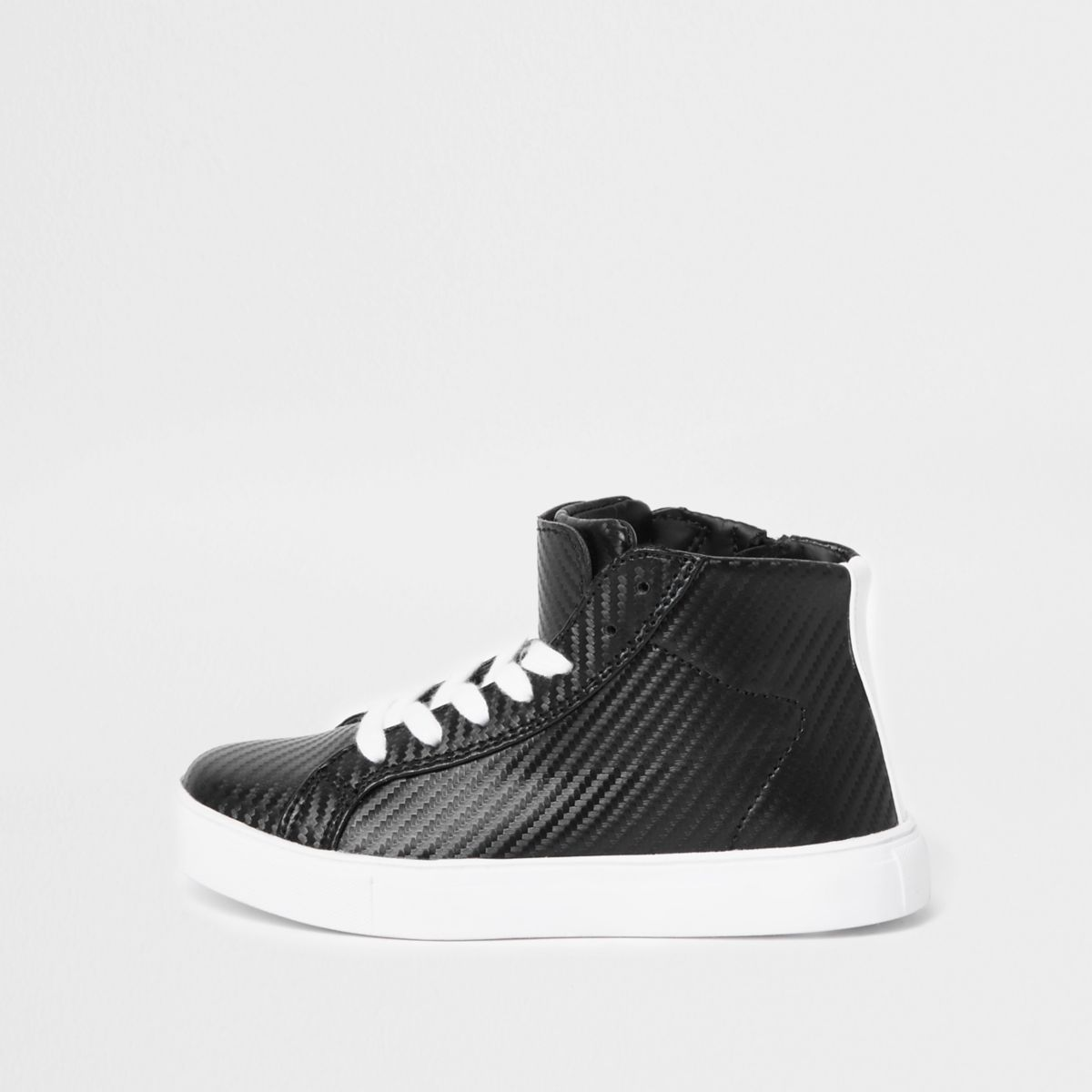 Boys black textured high top trainers
