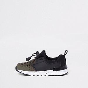 Kaki sneakers met mesh voor mini-jongens