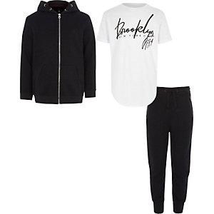 Outfit met marineblauwe hoodie en T-shirt met 'Brooklyn'-print voor jongens