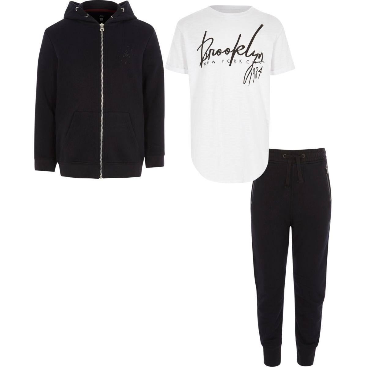 Boys navy 'Brooklyn' T-shirt hoodie outfit