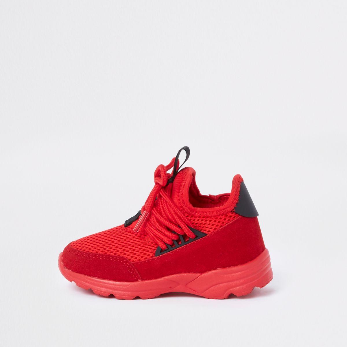 Mini kids red runner trainers
