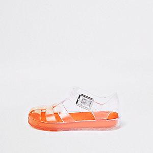 Sandales en plastique effet cage orange mini garçon