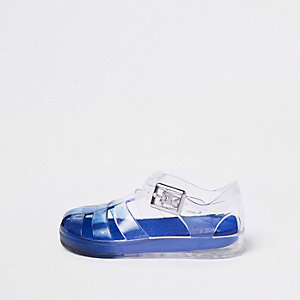Mini boys dark blue ombre jelly cage sandals