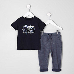 Mini boys navy 'NYC' floral T-shirt outfit