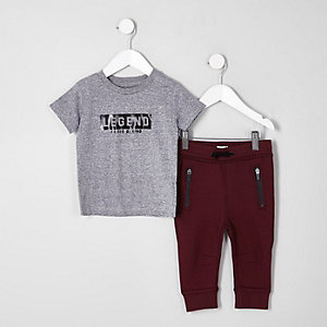 Mini boys 'legend' T-shirt and joggers outfit
