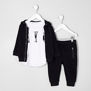 Mini boys T-shirt, hoodie and joggers outfit
