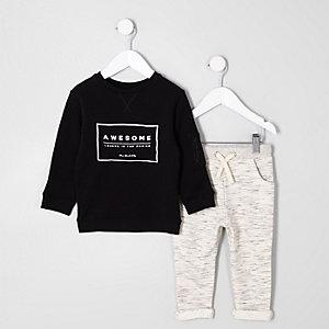 Mini - Outfit met zwart sweatshirt met 'awesome'-print voor jongens