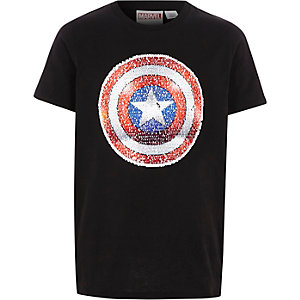 """Schwarzes, paillettenverziertes T-Shirt """"Captain America"""""""