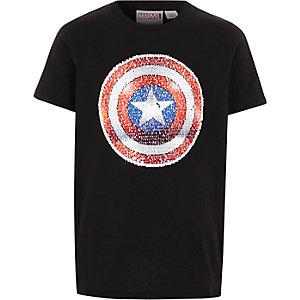 T-shirt noir Captain America à sequins pour garçon