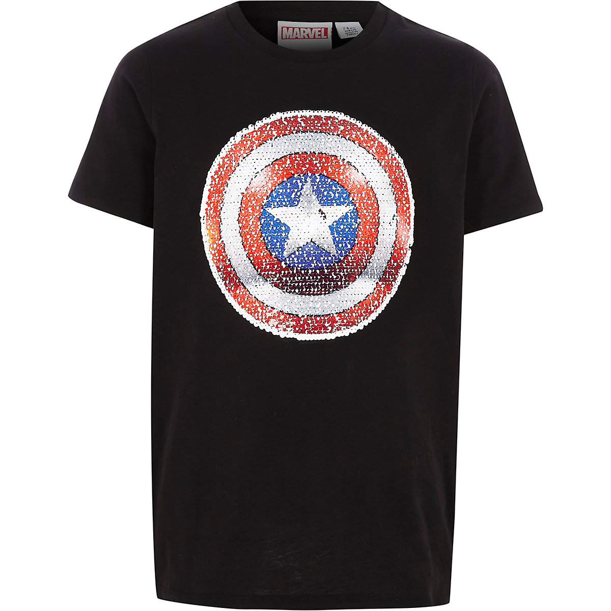 Boys black Captain America sequin T-shirt