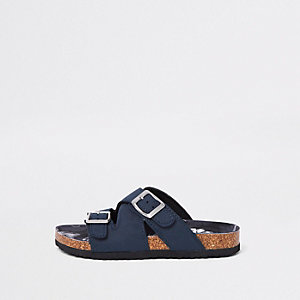 Boys navy cork buckle sandals