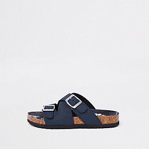 Marineblauwe sandalen met voetbed van kurk en gespen voor jongens