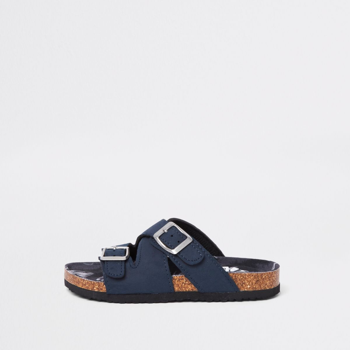 Boys navy cork buckle sandals