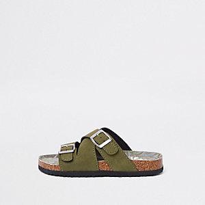 Kaki sandalen met voetbed van kurk en gespen voor jongens
