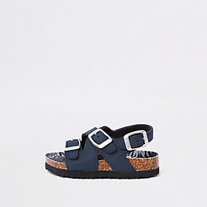 Mini boys navy cork buckle sandals