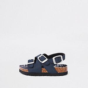 Mini - Marineblauwe sandalen met voetbed van kurk en gespen voor jongens