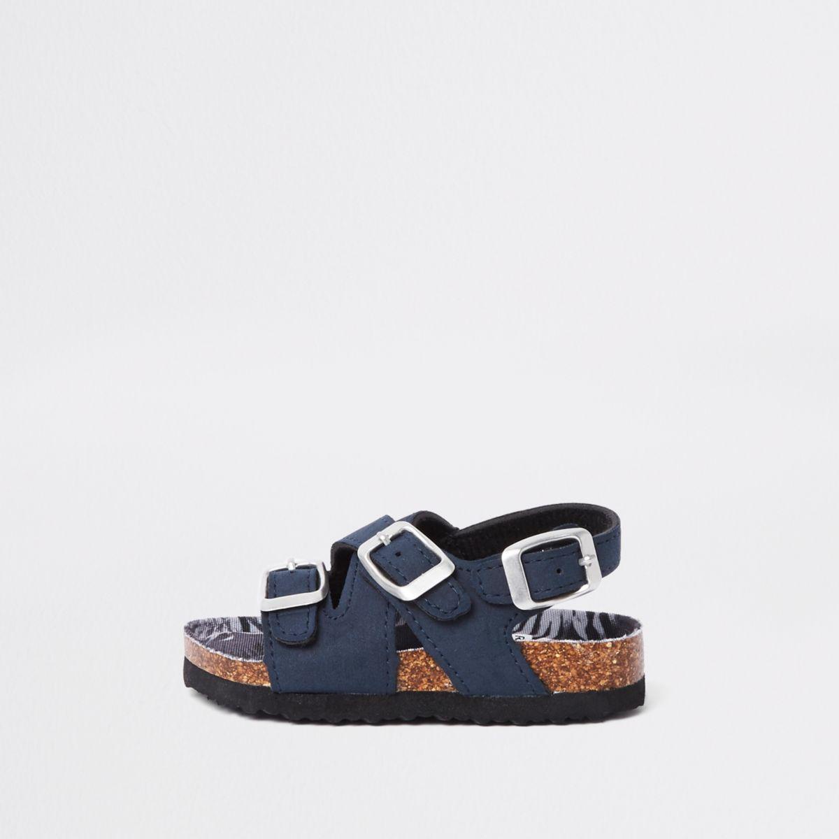 Mini boys navy cork buckle sandals
