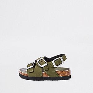 Mini - Kaki sandalen met voetbed van kurk en gespen voor jongens