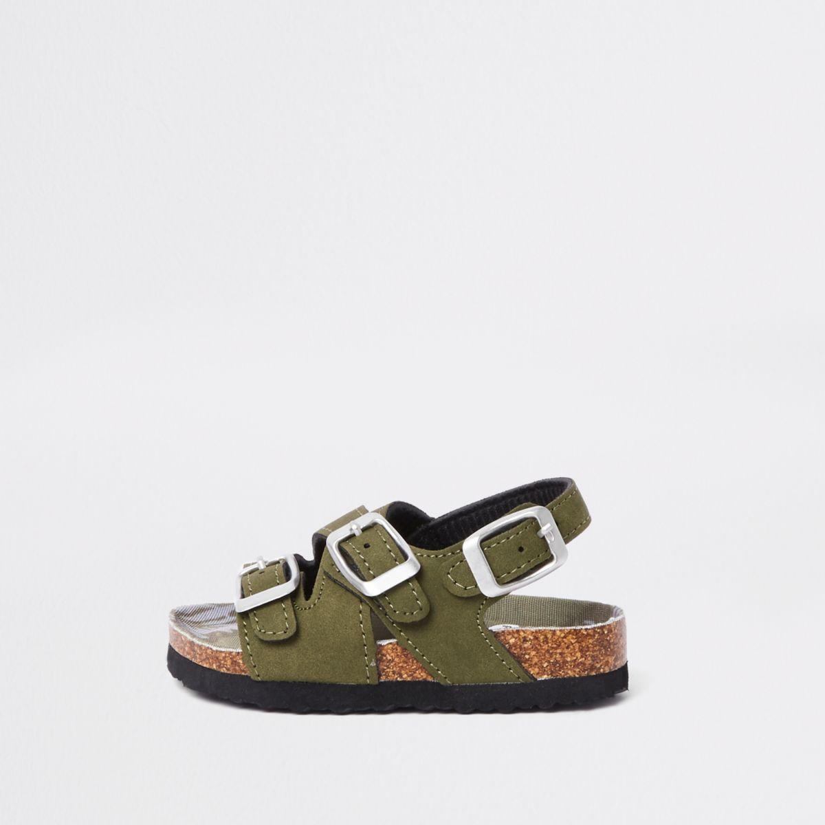 Sandales kaki à boucles avec semelle en liège mini garçon