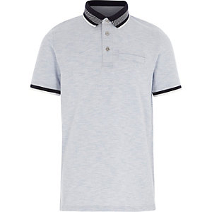 Boys navy stripe collar polo shirt