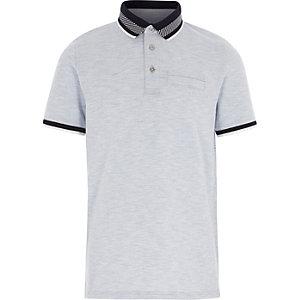Boys navy stripe collar polo shirt