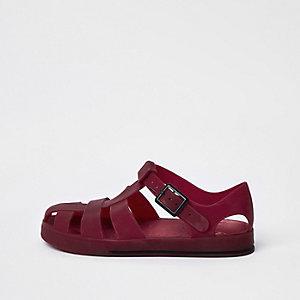 Donkerrode jelly sandalen voor jongens
