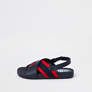 Mini boys navy stripe cross over sliders