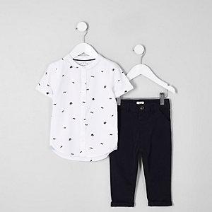 Mini - Outfit met wit overhemd met hoedenprint en chino voor jongens