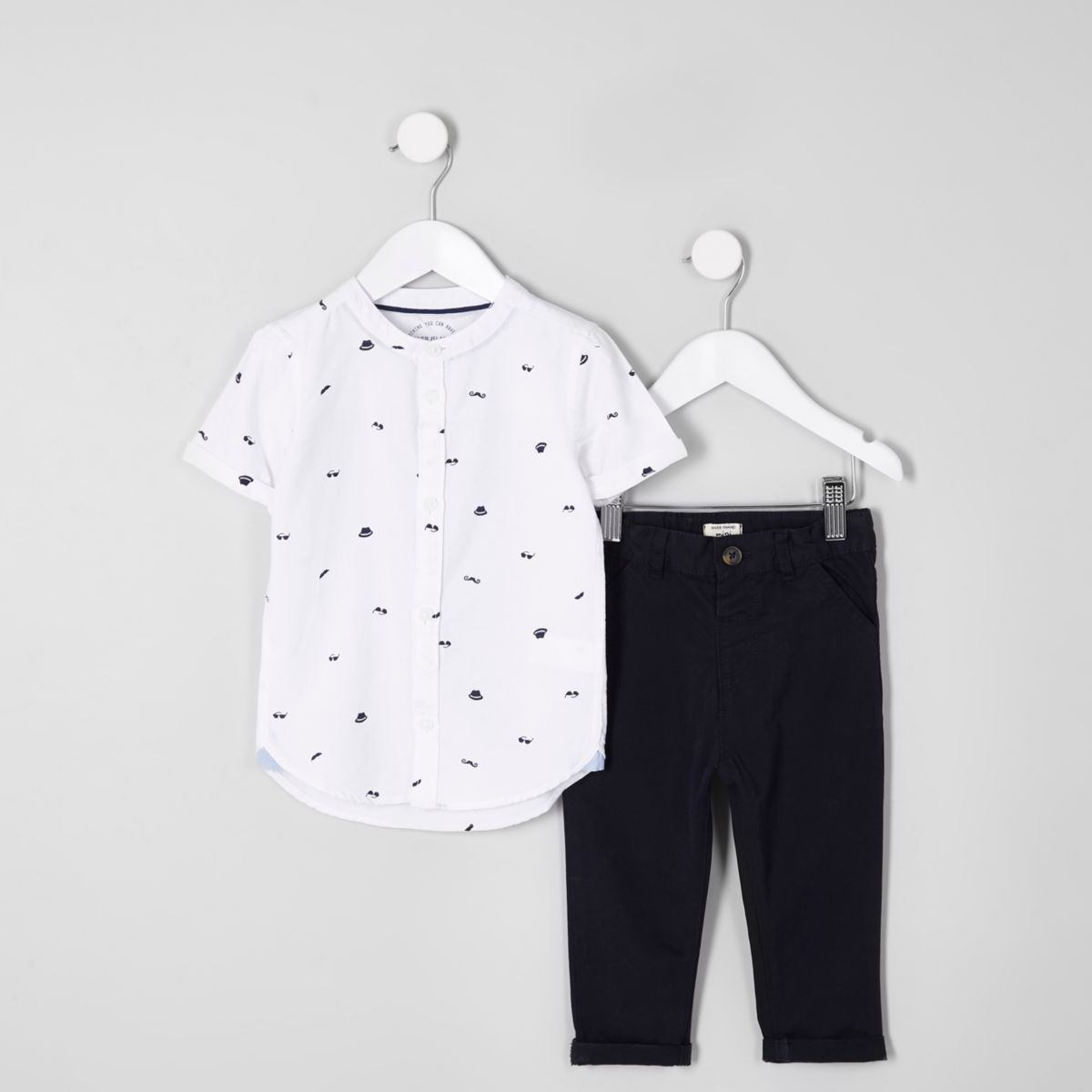 Mini boys white hat shirt and chinos outfit