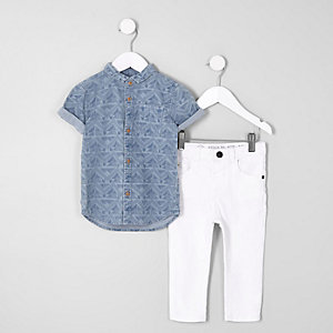 Mini boys blue aztec denim shirt jeans outfit