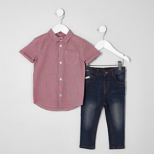 Mini boys red check shirt and jeans outfit