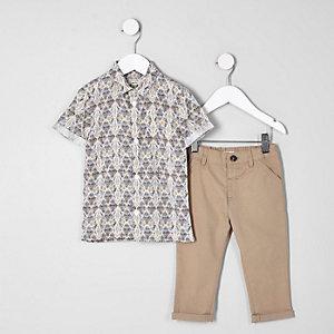 Mini - Outfit met crème overhemd met aztekenprint en chino voor jongens