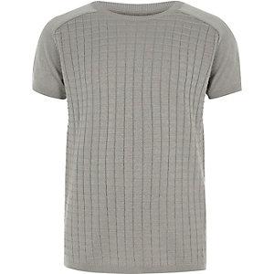 Grijs gebreid T-shirt met ruitpatroon voor jongens
