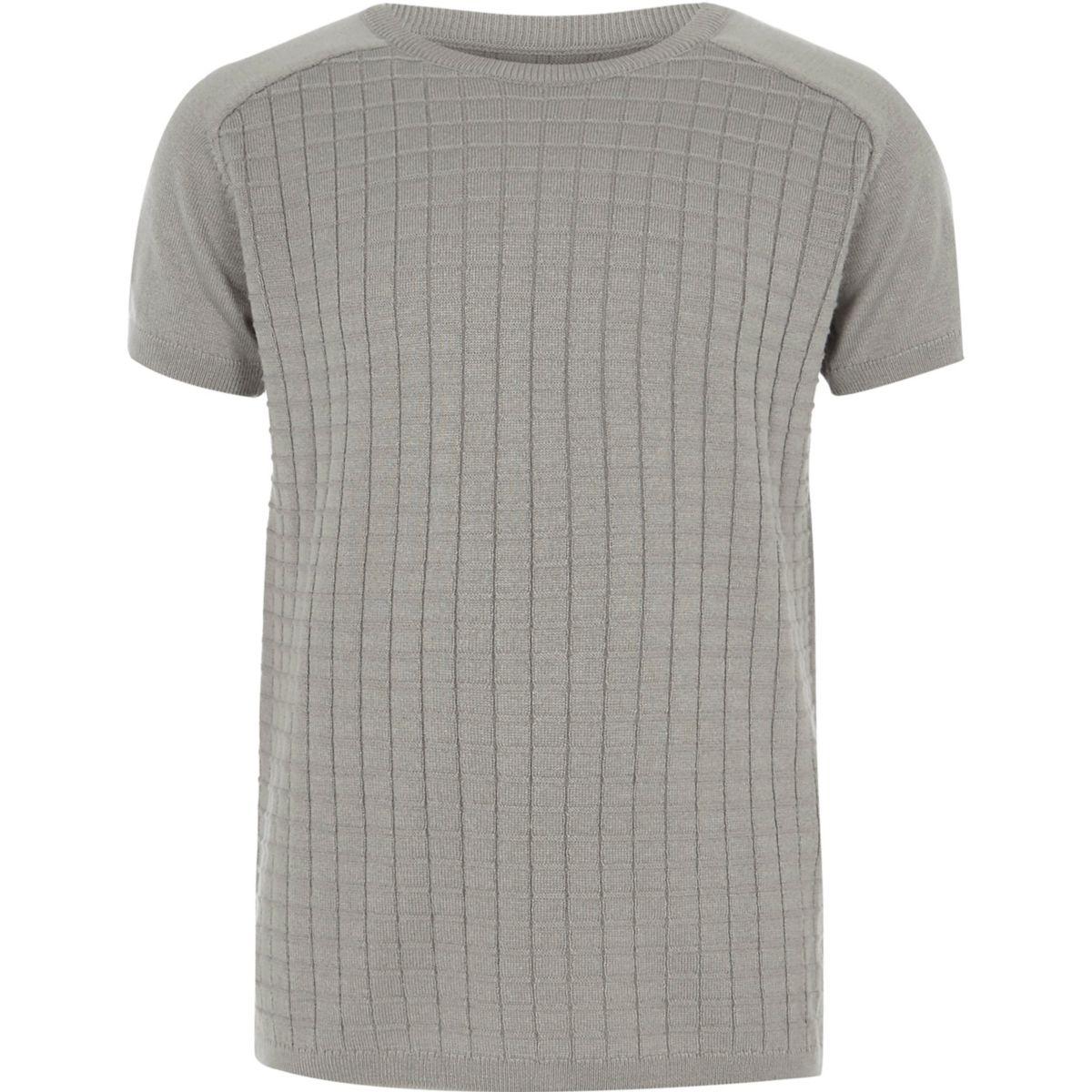 Boys grey knitted grid T-shirt