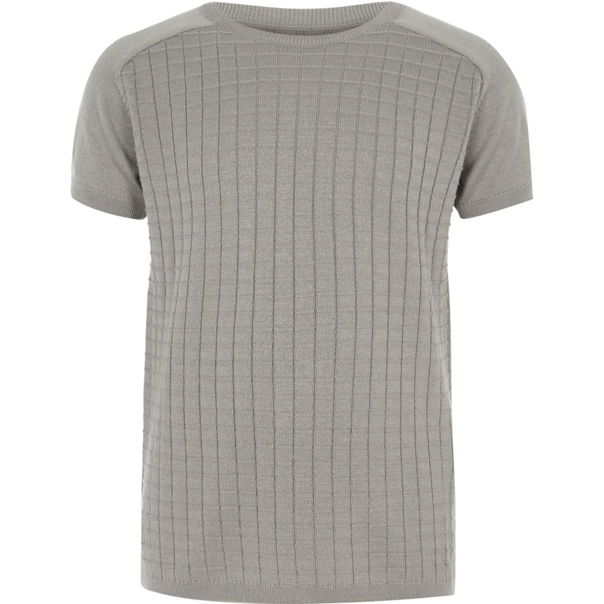 Boys grey knitted grid T-shirt