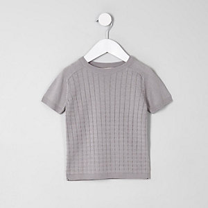 Mini boys grey knitted grid T-Shirt