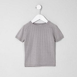 Mini boys grey knitted grid T-Shirt