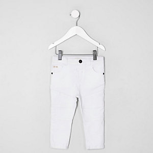 Mini boys white Sid skinny biker jeans