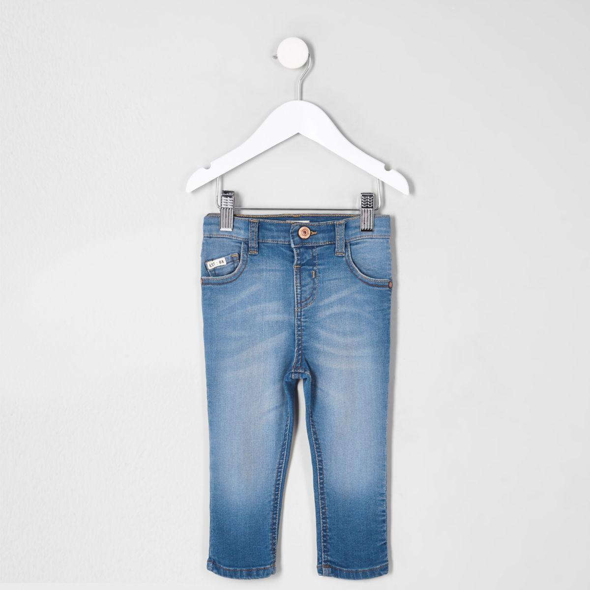 Mini boys blue Sid faded skinny jeans