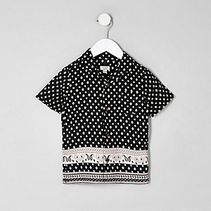 Mini boys black print short sleeve shirt