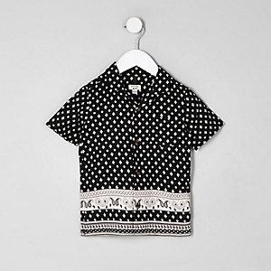 Mini - Zwart overhemd met print en korte mouwen voor jongens
