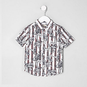 Mini boys red floral stripe print shirt