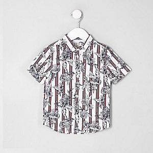Mini boys red floral stripe print shirt