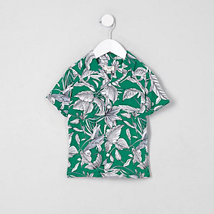 Mini boys green leaf print shirt