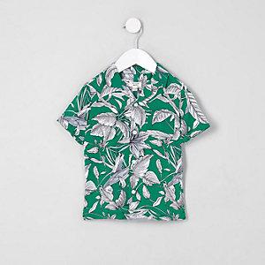 Mini - Groen overhemd met bladprint voor jongens